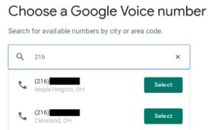 Choose a Google Voice number