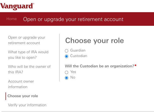 How and Why To Open a Custodial Roth IRA at Vanguard - Choose role