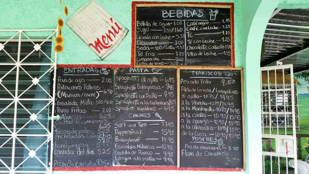 Panama Vacation - Part 1 - Nueva Gorgona and Anton Valley - Rincón Catracho menu