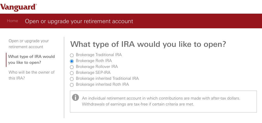 How and Why To Open a Custodial Roth IRA at Vanguard - Type of IRA