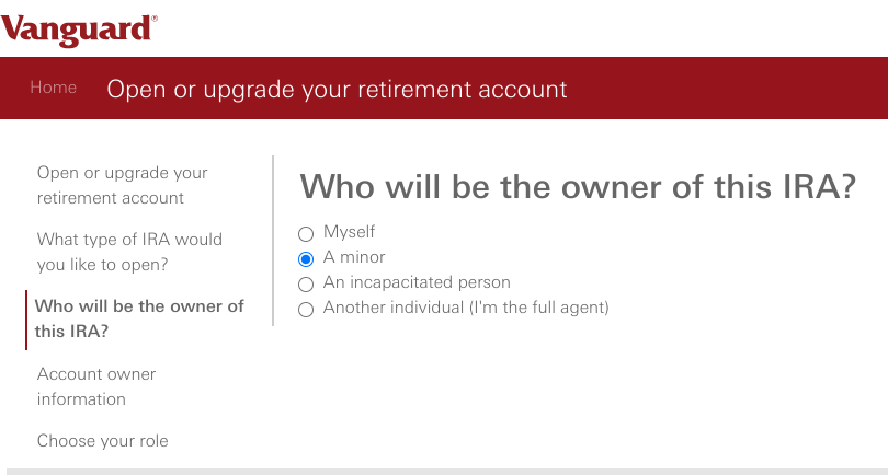 How and Why To Open a Custodial Roth IRA at Vanguard - Owner of this IRA