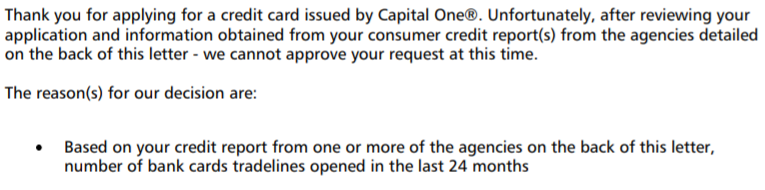 Rejection letter for the Capital One Rewards credit card