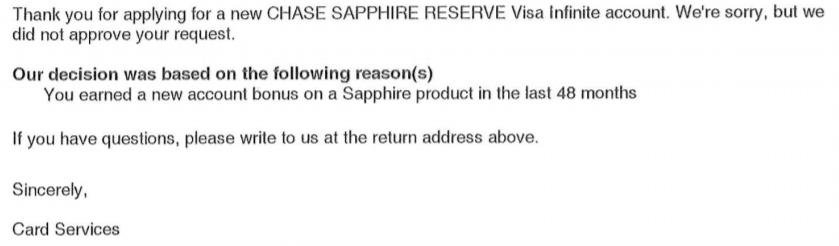 Rejection letter for the Chase Sapphire Reserve credit card