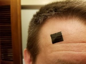 Duct tape on my forehead