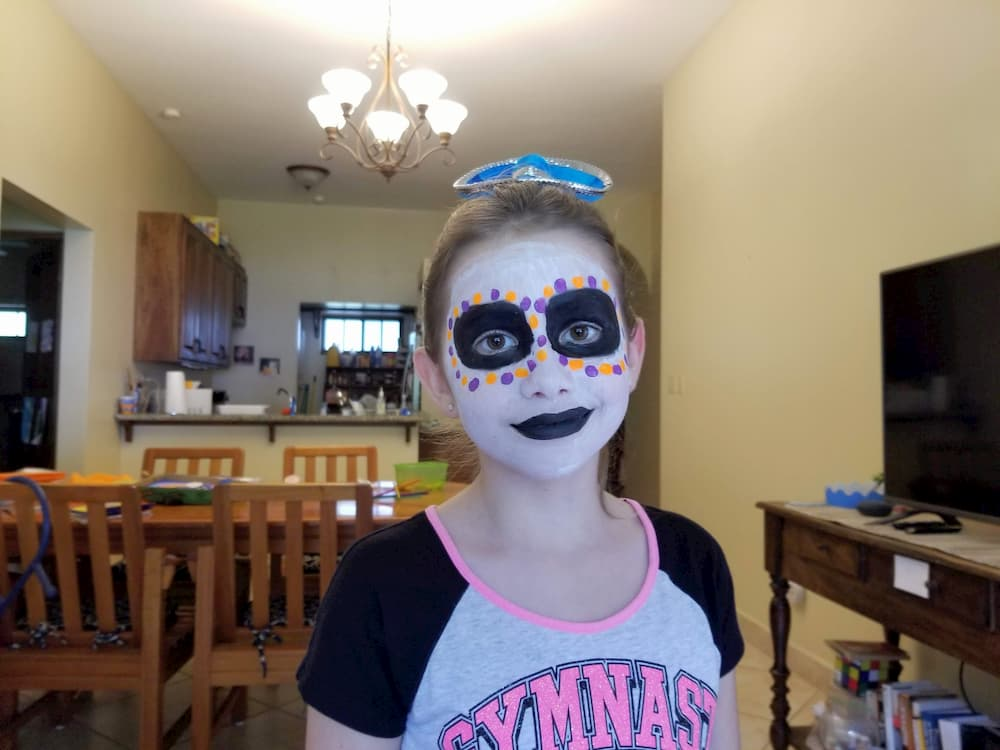 Making Plans for the Future – Stay or Go? - Faith painted her face in celebration of the Day of the Dead (Día de Muertos)