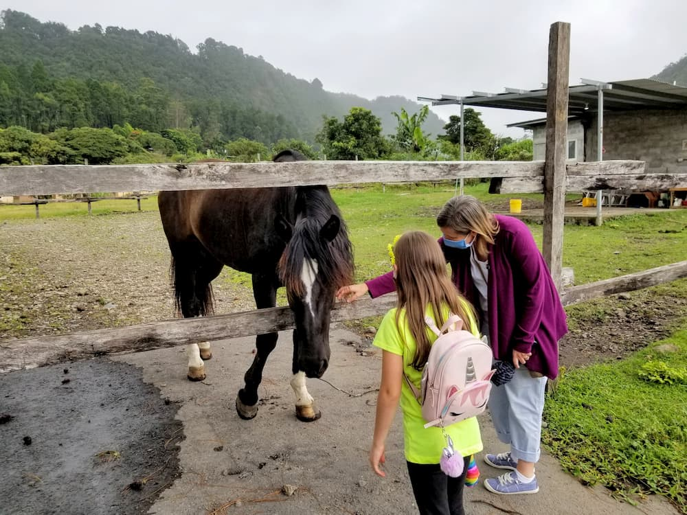 Boquete Panama – What's It Like Today? - Faith and Lisa petting a horse