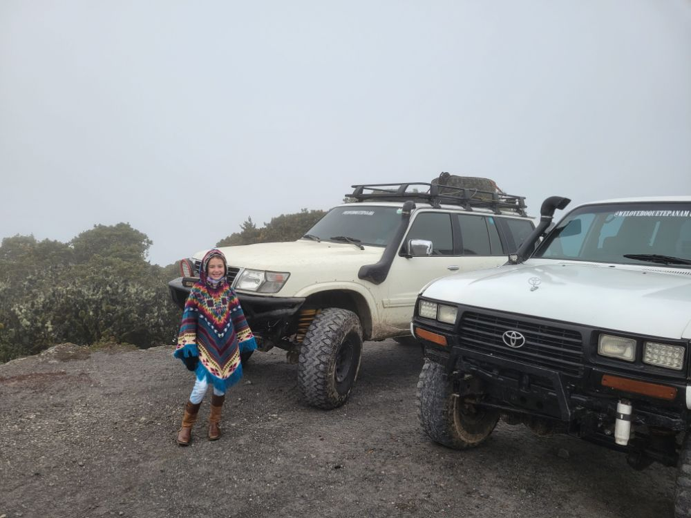 Faith in front of the 4x4