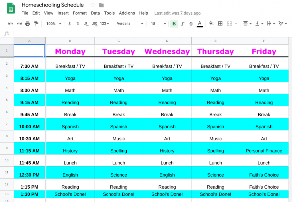Our First Week of Homeschooling in Panama - Faith's Homeschooling Schedule
