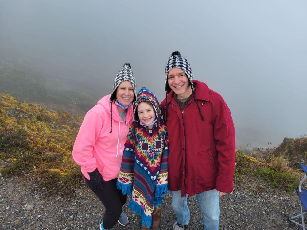 Lisa, Faith, and Jim atop Volcán Barú, an active volcano