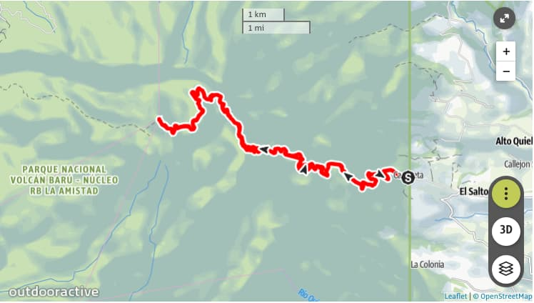 I've Decided to Hike up an Active Volcano - Map of drive up Volcán Barú and back down