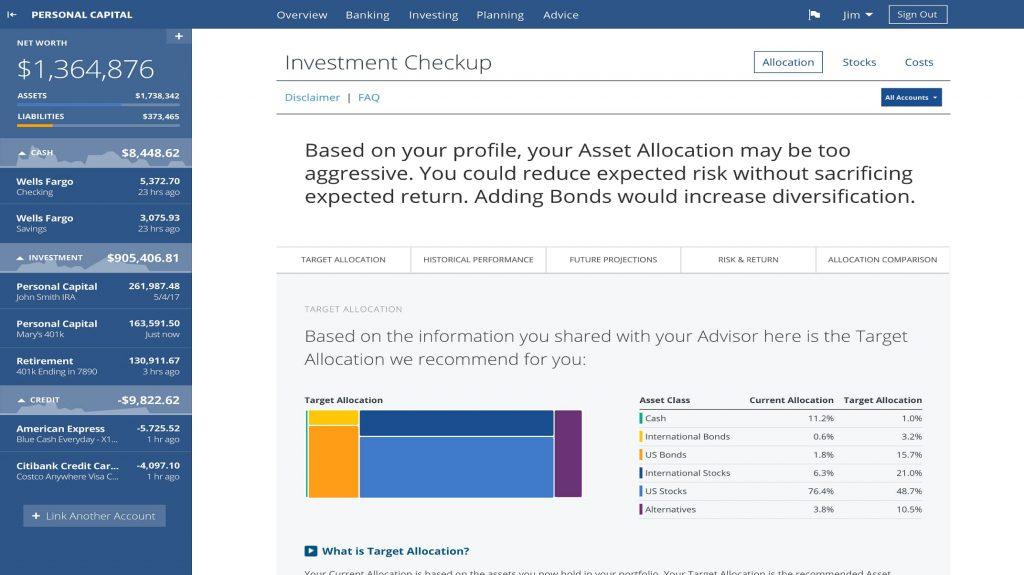 Personal Capital - Investment Checkup