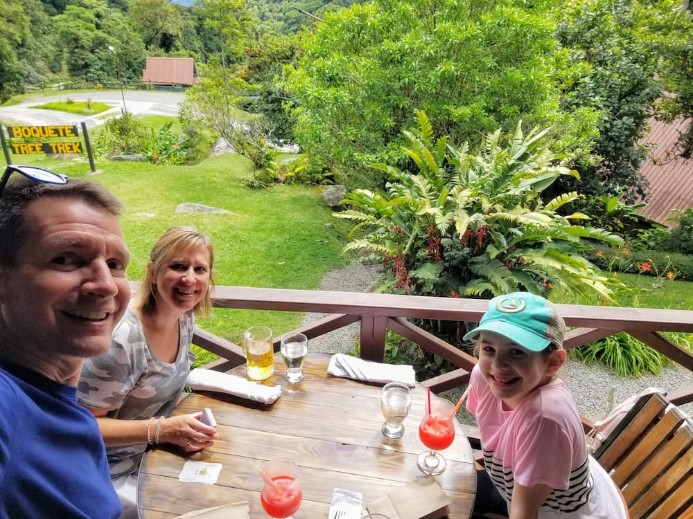 What I Did During My First Week Off in 6 Years! - Jim, Lisa, and Faith at Río Cristal Restaurant in Boquete Tree Trek