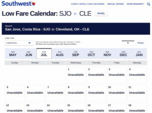 Our Planned Trip Back to the U.S. from Panama... - Southwest Low Fare Calendar - SJO to CLE
