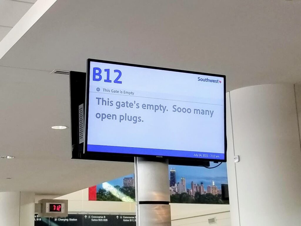 A Travel Trick for Last-Minute Delayed or Canceled Flights - Southwest: This gate's empty...