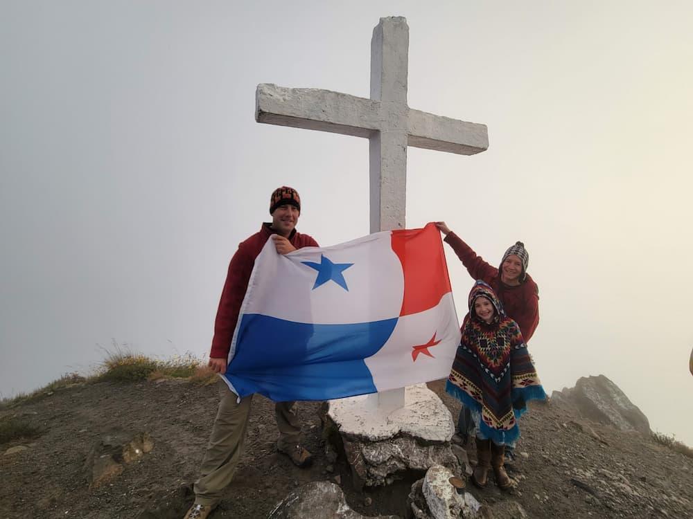 Steve, Faith, and Jim with the Panamanian flag at the top of Volcán Barú, an active volcano