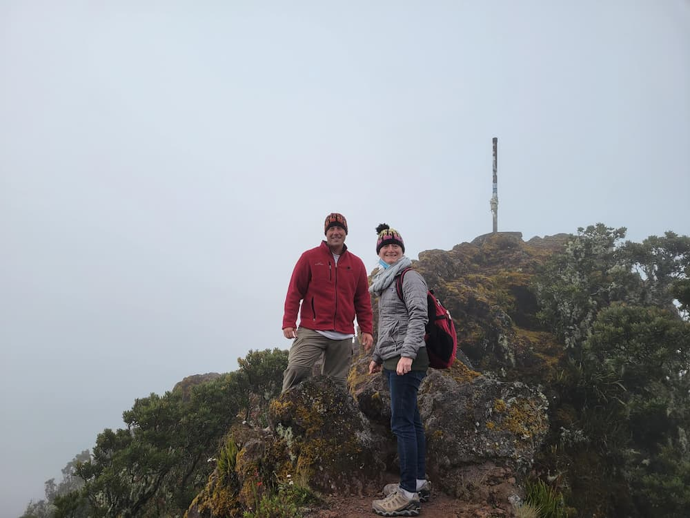 Steve and Courtney at the top of Volcán Barú, an active volcano