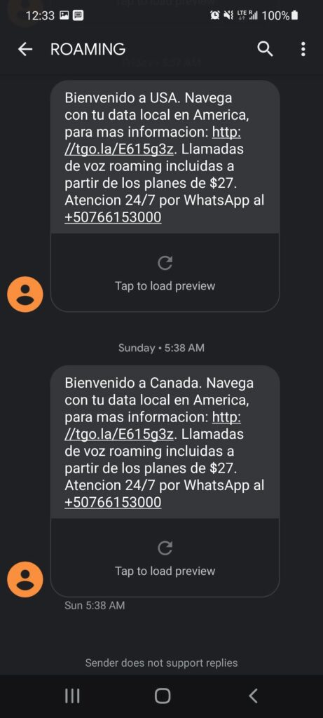 Tigo text messages - Welcome to the USA and welcome to Canada
